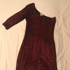 Red sparkly one shoulder mini dress, Size M